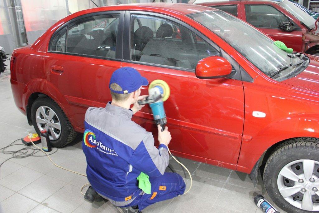 полировка двери машины