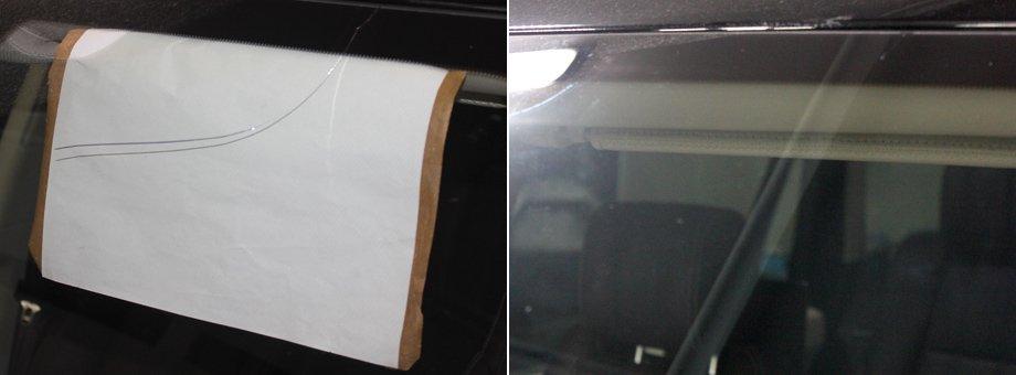 трещина на лобовом стекле до и после