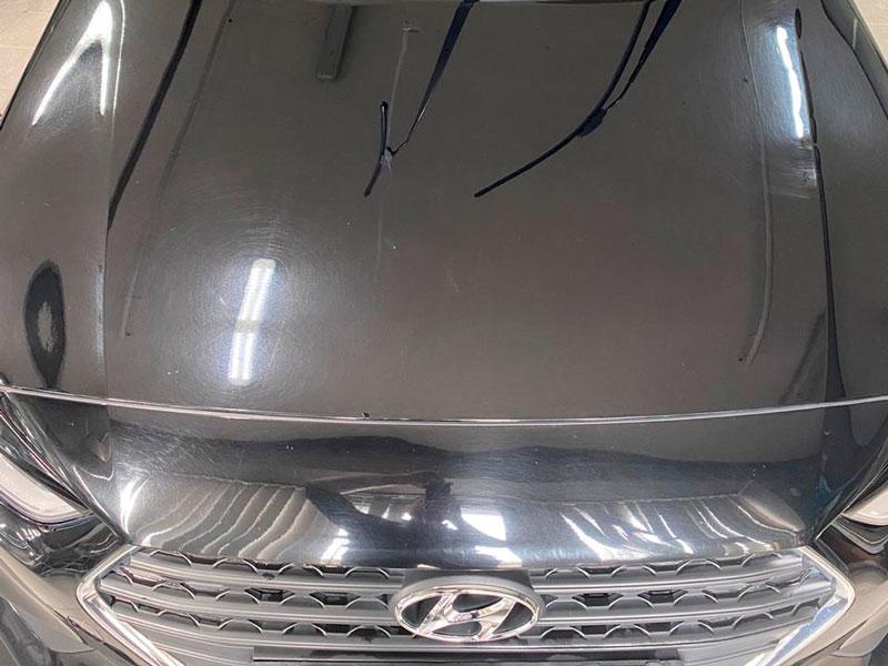 полировка капота автомобиля хендай - фото до