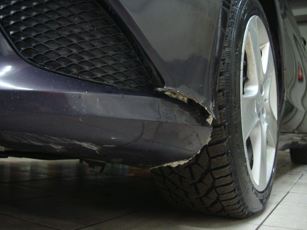 Ремонт и окрас переднего бампера Мерседес (Mercedes-Benz CLA)