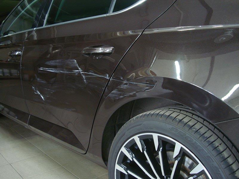 Ремонт и покраска задней двери и крыла Шкода Суперб (Skoda Superb)
